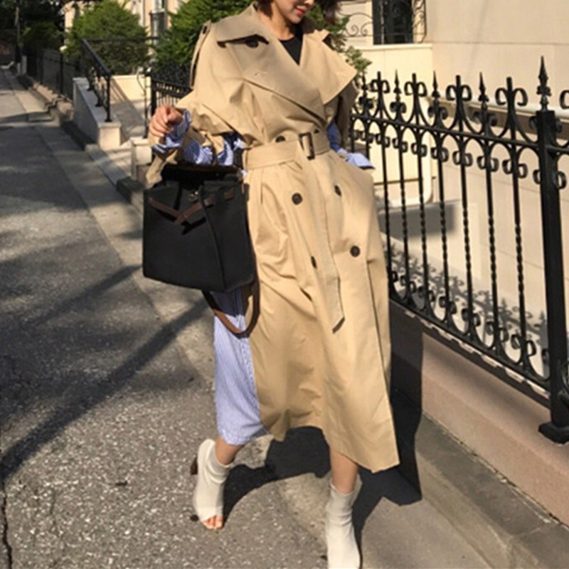 2019 Women Windbreaker Long Spring Chic Coats Female 2019 New Pleated Overcoat Loose Outwear Thin Casual Womens   Trench   Coat FY36