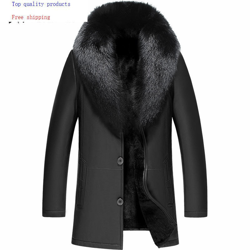 Зимняя кожаная куртка из овчины, настоящая шуба из натурального кролика, мужская куртка с воротником из лисьего меха, Cuero Genuino JF 161879, YY302