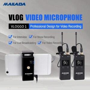 Image 5 - Mailada Vlog Gehen UHF Kondensator Drahtlose Mikrofon System Video Aufnahme Lavalier Revers Mic für iPhone Android DSLR pk Ritt