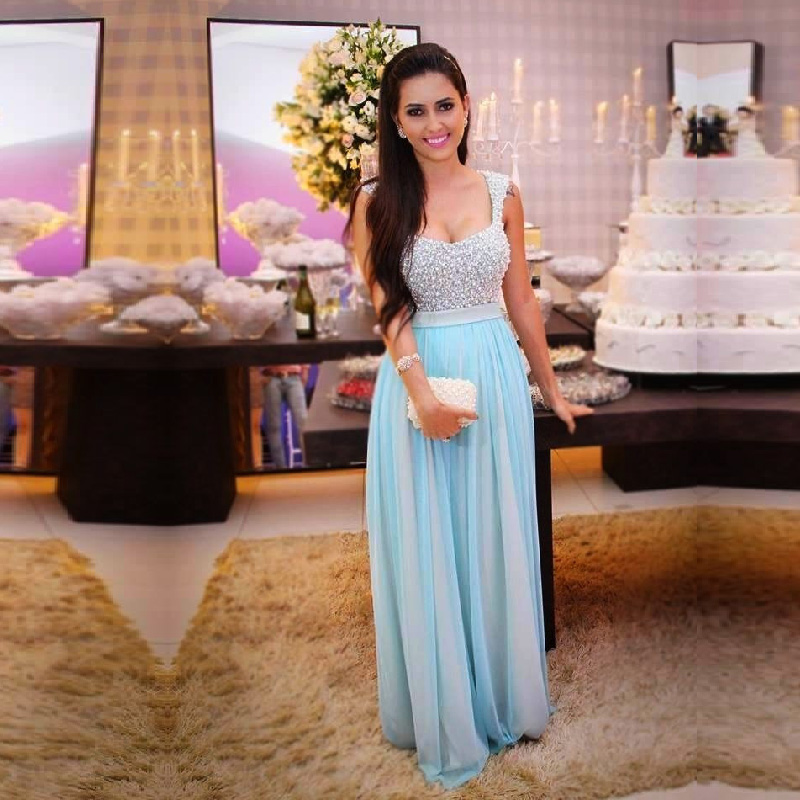 Plus Custom Made Cheap Formal Party Hand Beaded Light Blue Chiffon Women Dinner Prom Gown Robe De Soiree Bridesmaid Dresses