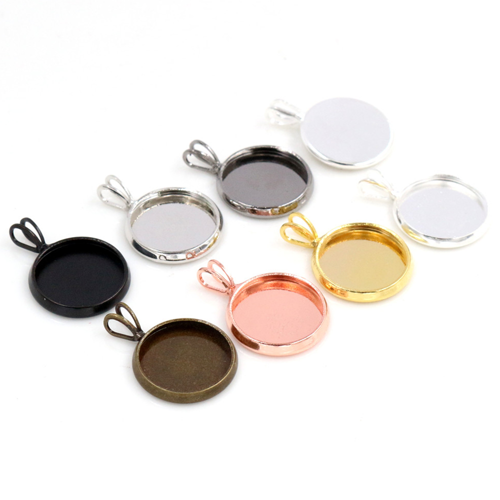 20pcs/lot 12mm Inner Size 7 Colors Plated Brass Material Simple Style Cabochon Base Cameo Setting Charms Pendant Tray