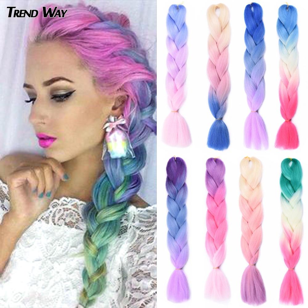 Trend Way 24Inch Synthetic Long Jumbo Crochet Braiding Hair Ombre Hair For Women Colorful Braids 100g Rainbow Hair Gray  Green