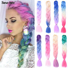 Trend Way-extensiones de pelo largo sintético con degradado para mujer, mechones de pelo trenzado Jumbo de 24 pulgadas, colores arcoíris, 100g, color gris y verde