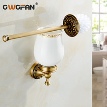 Free Shipping  High-end Wall Mounted Toilet Cleaning Brush Antique Brass Toilet Brush Holder bathroom accessories free shipping senducs antique bronze toilet paper holder with high quality bathroom brass paper holder for bathroom accessories