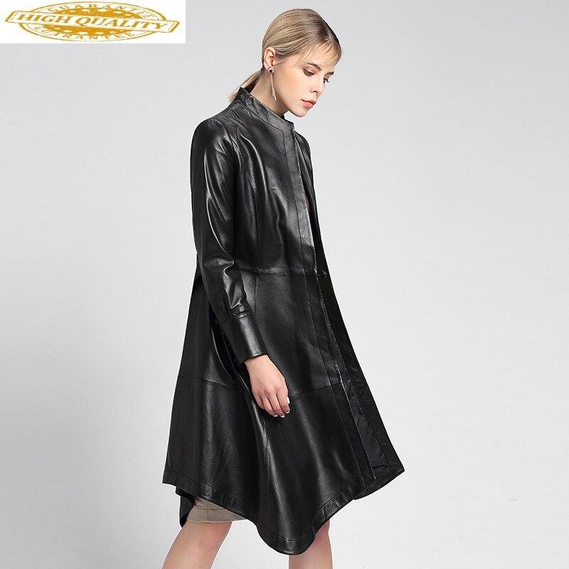 Genuine Leather Jacket Women Autumn 100% Sheepskn Coat Long Windbreaker Korean Slim Leather Jacekts 2020 7066 KJ3065