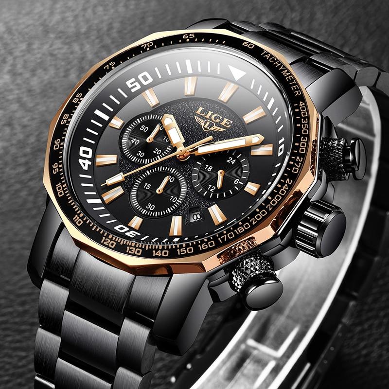 2020 Fashion Business Mens Watches LIGE Top Brand Outdoor Sport Quartz Clock Steel Watch Male Military Waterproof Wristwatch Men