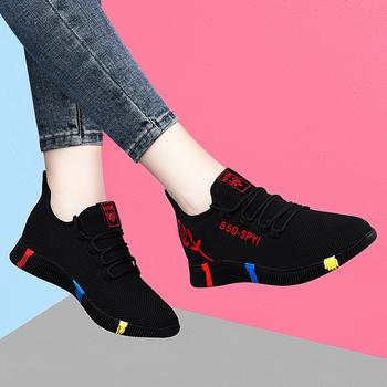 Damskie casualowe buty sportowe sportowe buty 2020 jesienne oddychające buty sportowe z siatką przepuszczającą powietrze zasznurowane tenisowe damskie buty antypoślizgowe miękkie podeszwy tanie i dobre opinie tihe WOMEN CN (pochodzenie) LIFESTYLE Zapewniające stabilność Na betonową podłogę Zaawansowane oddychająca Siateczka (przepuszczająca powietrze)