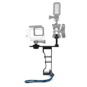 Image 4 - Adecuado para Gopro Gama Completa Dslr Cámara Cnc aleación de aluminio de una sola mano de buceo fotografía soporte de mano soporte de la cámara