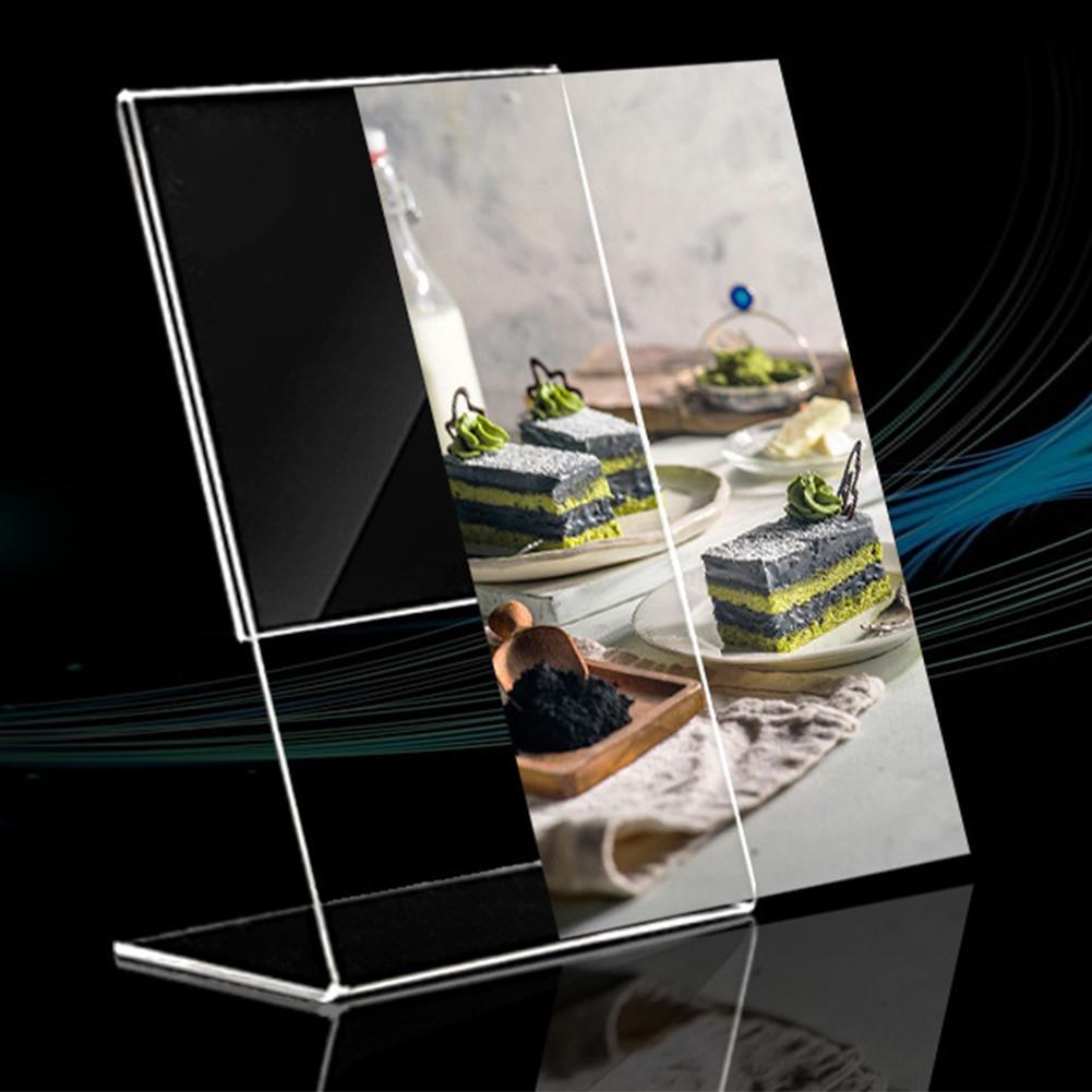 1PC Acrylic Clear Card Holder Stand A6 Sign Label Frame Desk Shelf Storage Card Holders 1.3mm Business Paper Card Display Holder