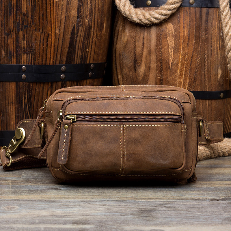 Men's Chest Bag Genuine Leather Heuptas Travel Wallet Passport Cover Cowhide Large Messenger Bags Multi-function Waist Pack