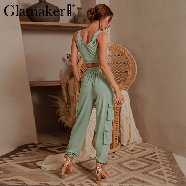 Glamaker Green sleeveless fitness suit set women crop top and pant two piece set casual fashion pocket ladies autumn tracksuit 3