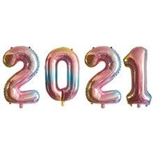 Ballons Photo en aluminium, 4 pièces, 16 32 pouces, guirlande de bannière or noir, fournitures de fête du réveillon du nouvel an 2021