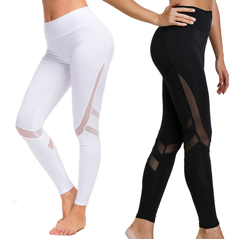 Mesh Stitching Pants Popular Women's European And American Fitness  Polyester Solid Ankle-Length Casual Leggings