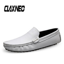 CLAXNEO Man Boat Shoes Genuine Leather Design Male Shoe White Loafers Casual Moccasins Breathable