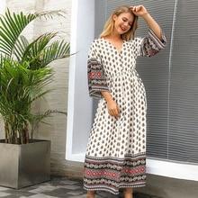 Hippie Ethnic Vintage Print Maxi Dress 3/4 Sleeve V Neck Sexy Vestidos 2020 Spri