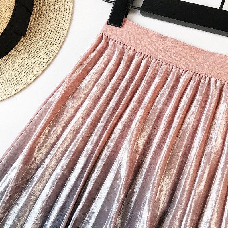 Gradient Velvet Pleated Skirt 11