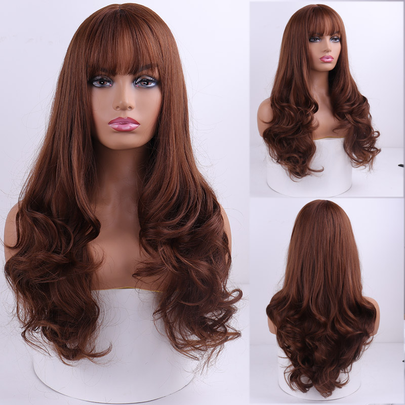 Merisi hair peruca longa ondulada com franjas,