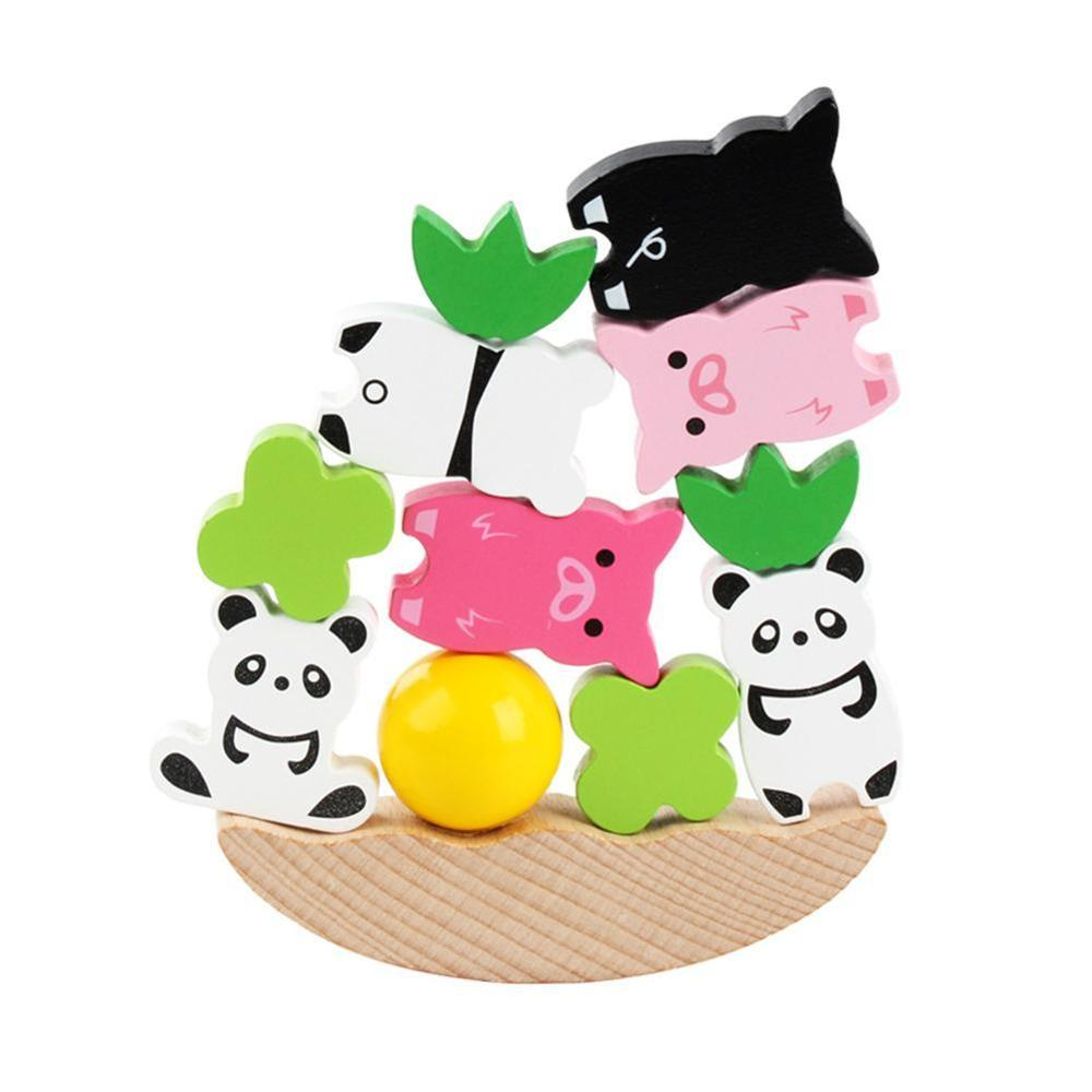 Animal Construction Wooden Model Baby Toy Moon Balancing Montessori Frame Educational Material Early Learning
