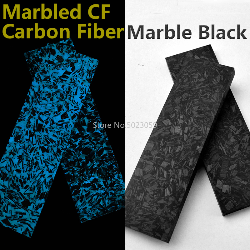 2Pcs Noctilucent Marbled CF Carbon Fiber Block Ripple Resin Tool For DIY Knife Handle Craft Supplies Blue/green137x40x5mm