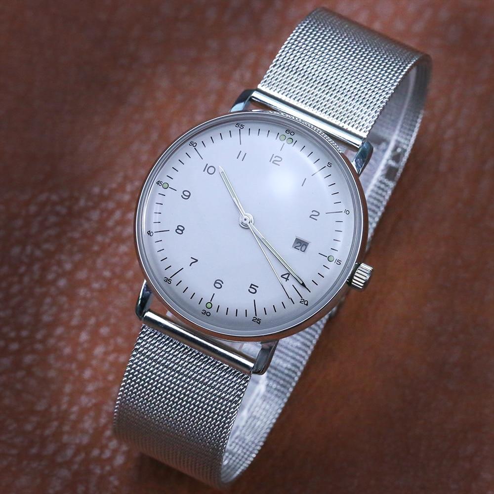 Steeldive-reloj de cuarzo para hombre, resistente al agua hasta 50m, de cuero, C3, luminoso, gran oferta, 8102