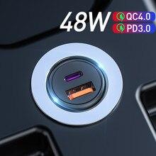 48W QC PD 4,0 3,0 Quick Charge Auto Ladegerät für Samsung S10 9 Schnelle Auto Lade für Xiaomi iPhone typ C Huawei Auto USB Ladegerät