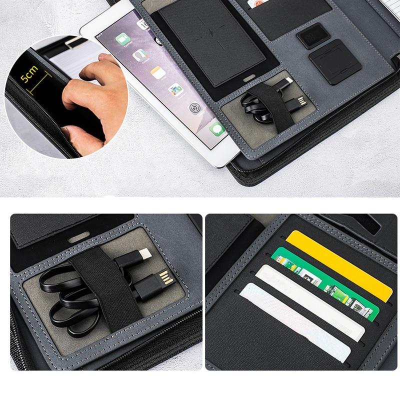 A4 taille voyage cahier Composition livre Business Manager sac dossier avec chargeur d'alimentation sans fil support de sac Mobile - 5