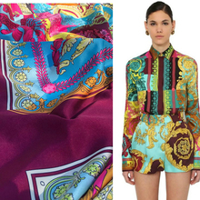 Baroque printed polyester twill fabric 145 cm width luxury same pattern factory custom production wholesale fabric for dress