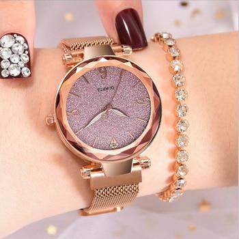 цена Quartz Watch Fashion Rhinestone Ore Dial Women Watches Magnet Alloy Milan Strap Ladies Wrist Watch Luxury Clock Reloj mujer онлайн в 2017 году