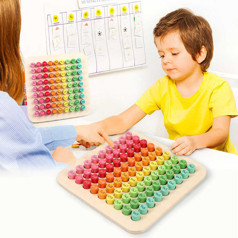 2020 Wooden Toys Multiplication Table Math Learning Toys for Baby Toddler Kids