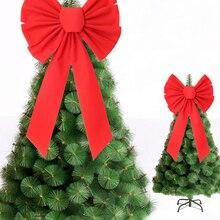 Большой Рождественский бант, красный бант, украшение для рождественской елки, Рождественское украшение, новогодний Праздник вечерние ринк...