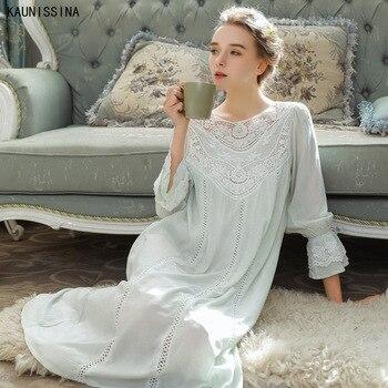 Mujer 100% Camisón de algodón encaje princesa Sexy pijama vestido de noche ropa de dormir ropa de noche de lujo camisón mujer noche