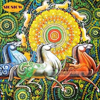 Cuadro de mosaico de diamantes de cristal con diseño de caballo 5D, Kits de bordado de cuentas de Arte de diamantes cuadrados coloridos, decoración para el hogar hecha a mano