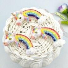 Flatback Resin Rainbow-Unicorn Headwear-Accessories Cabochons 10pcs for Charms Glittering