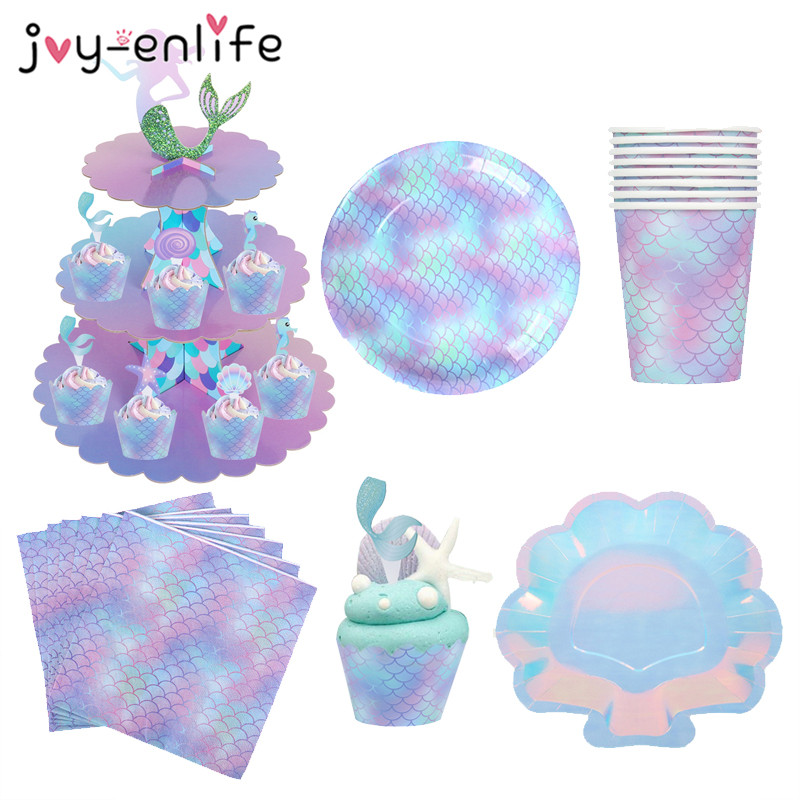 Mermaid Party Decorations Birthday Cake Stand Paper Plate Cup Under The Sea Party Supplies Girl Birthday Party Baby Shower Decor