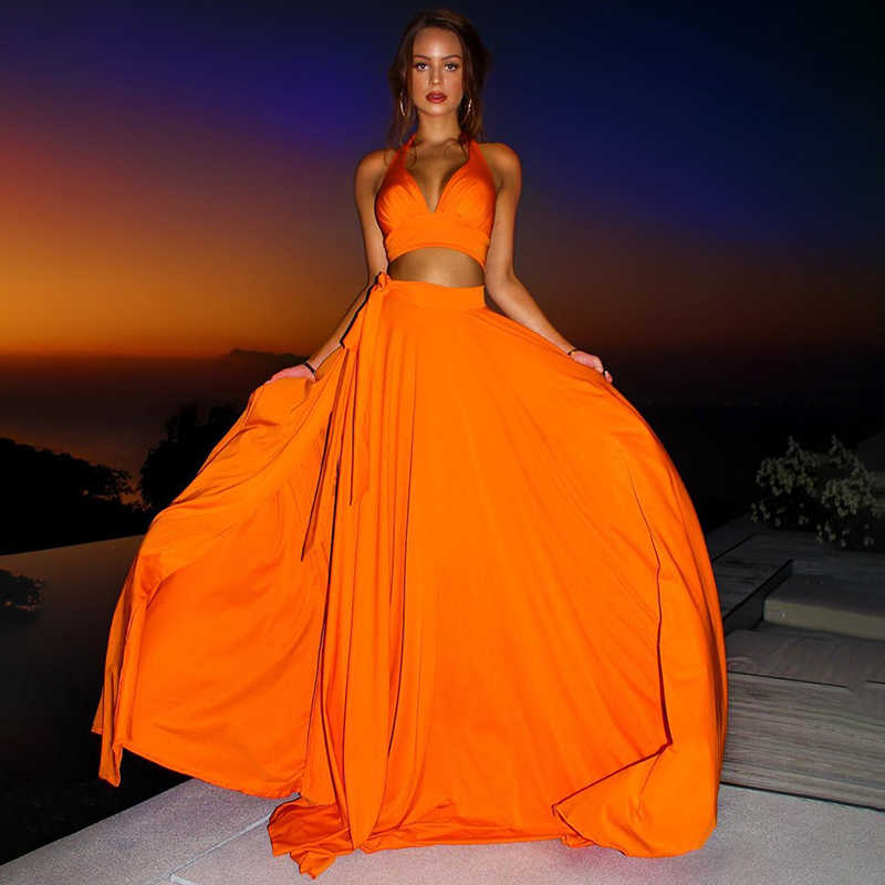 NATTEMAID Elegant Party Two Piece Set Backless Halter Crop Top And Maxi Long Skirts Sexy 2 Piece Set Women 2019 summer Outfits