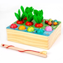 Toddler Puzzle Happy Farm Game Pull Carrot Fishing Worm Catching Toy Kids Gift Q6PD