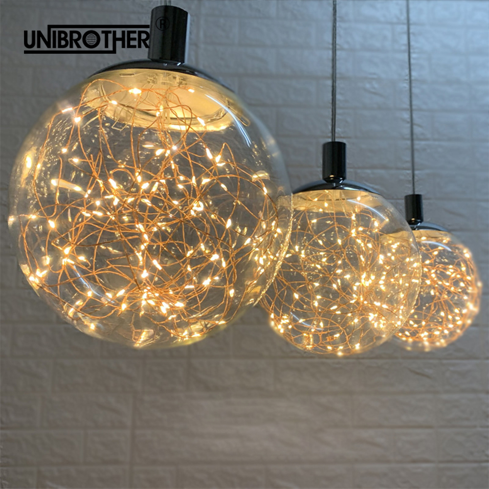 Glowworm LED String Pendant Lights Nordic Hanging Lamp Modern Light Fixture Loft Clear Glass Ball Lighting Home Decor Diningroom