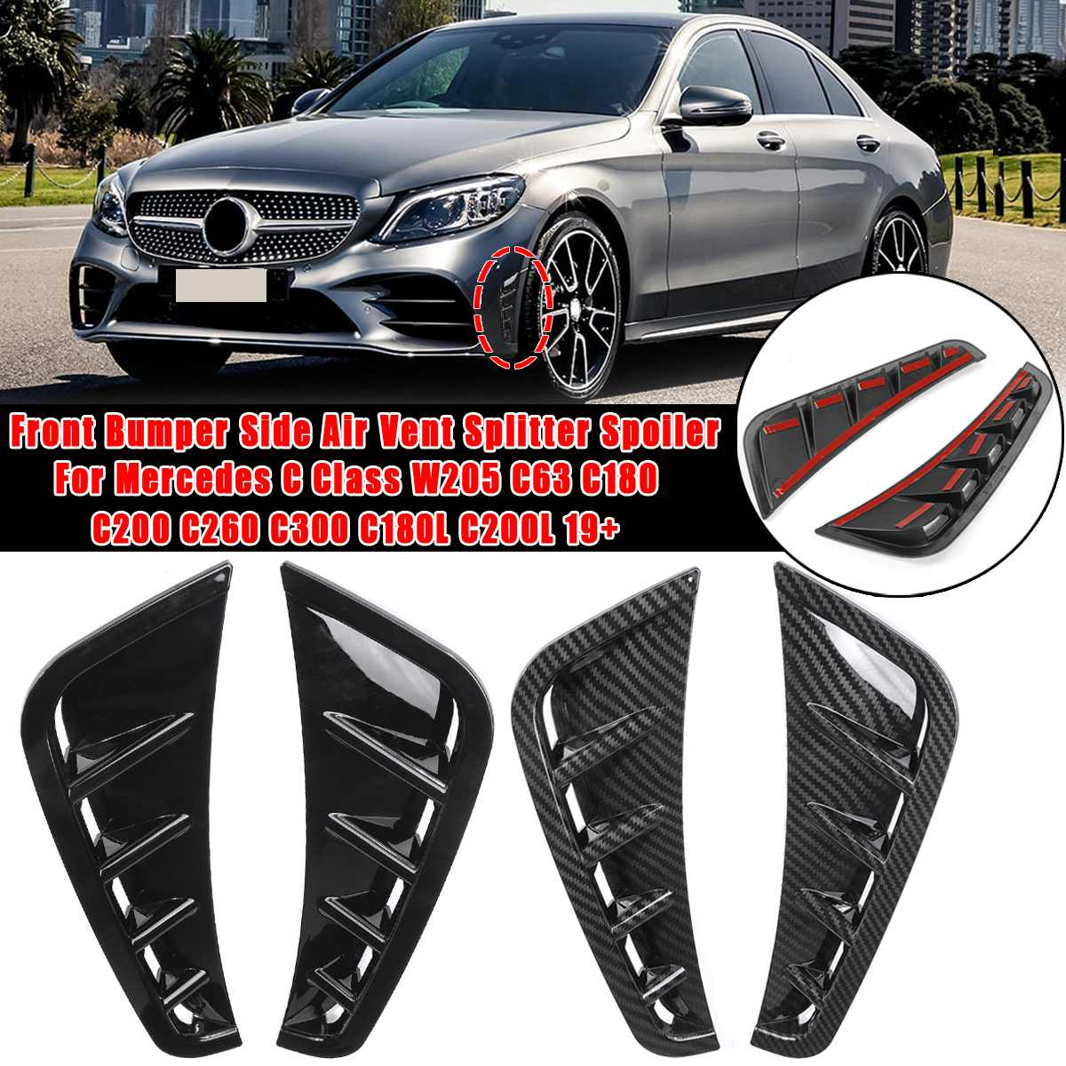 Pair Canard Spoiler Splitter Front bumper side trim cover <font><b>For</b></font> <font><b>Mercedes</b></font> C Class W205 C63 C180 <font><b>C200</b></font> C260 C300 C180L C200L <font><b>2019</b></font>+ image