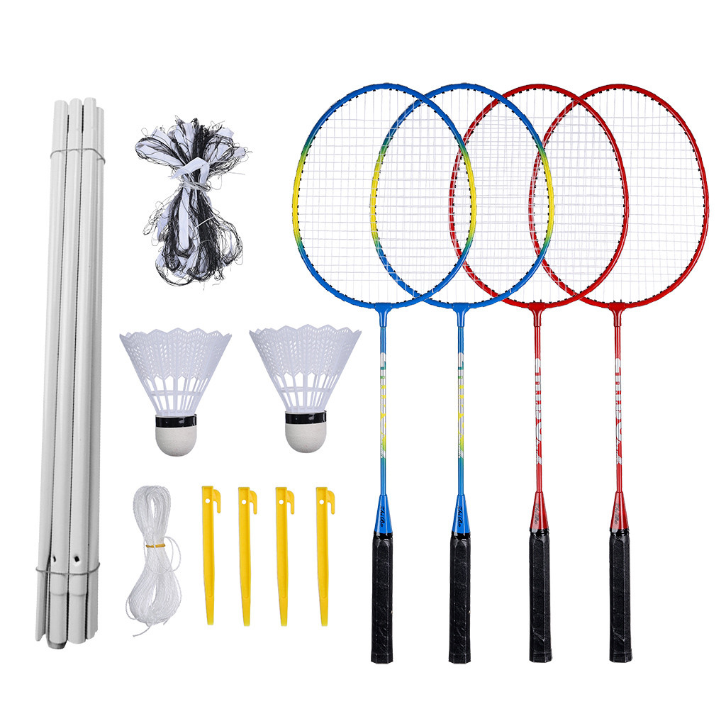 Badminton Set, Portable Outdoor Badminton Combination Set Badminton Net System Badminton Net System Training Outdoor Sports D3