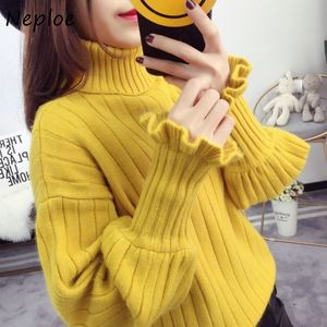 Neploe Solid Color Warm Sweater Women Autumn Winter Korean Turtleneck Loose Pullovers 2020 Fresh All-match Knitted Femme Tops