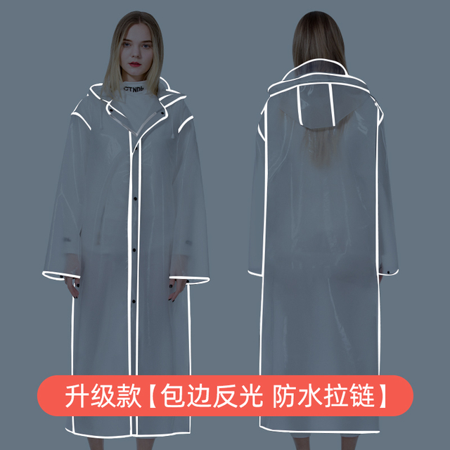 Adult Transparent Raincoat Women Thickened Clear Rain Coat EVA Outdoor Hiking Reflective Long Rain Poncho Jacket Impermeable 3