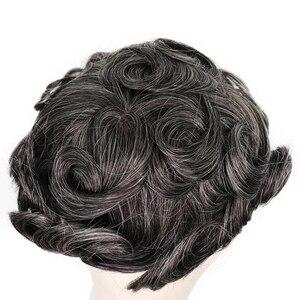 Image 4 - YY פאות 1B טבעי שחור מעורב אפור שיער טבעי פאה גברים מונו נטו & pu רמי שיער החלפת מערכת גברים של פאה 6 אינץ 8x10