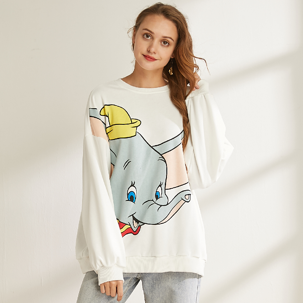 Dumbo White Sweatshirt 2019 Autumn Winter Jumper Coat Fashion Pullover Streetwear Cartoon Top Hoodies Women Clothing Sweatshirt