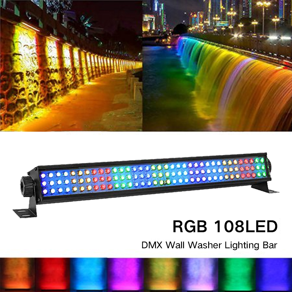 108 LED RGB Wall Wash Lamp LED Stage Light Christmas Atmosphere Bar Light DMX-512 Mode Wall Washer Lighting For Bar DJ Home