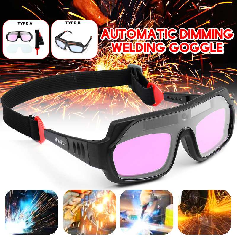 Two Type Durable Solar Powered Auto Darkening Welding Mask Helmet Goggle Welders Glasses Arc PC Goggles For Welding Protection