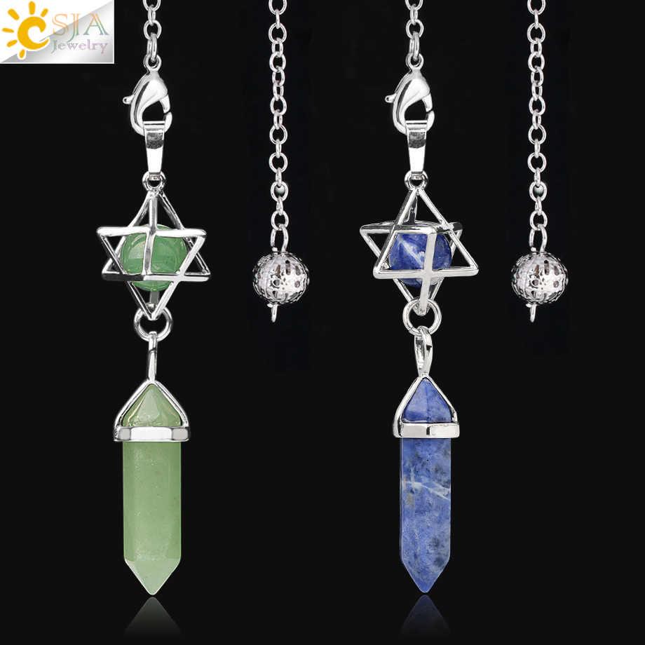 CSJA Natürliche Stein Pendel für Radiästhesie Divination Hexagonal Prism Healing Kristall Merkaba Energie Spirituelle Trendy Schmuck G517