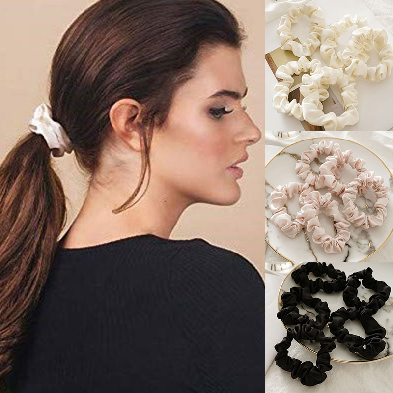 Silk Scrunchies Ponytail Holder Elastic Ties Hair Band White Polka on Black 054