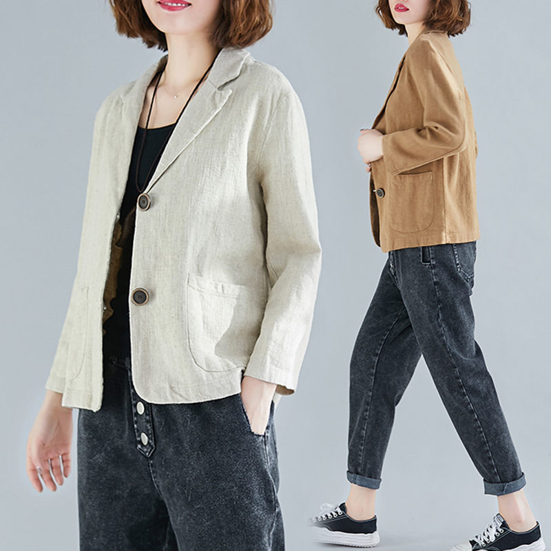 Spring Summer Short Coat Cotton And Linen Blazer Suit Collar Jacket Women's Casual Solid Color 3/4 Sleeves Shirt Plus Size F2879