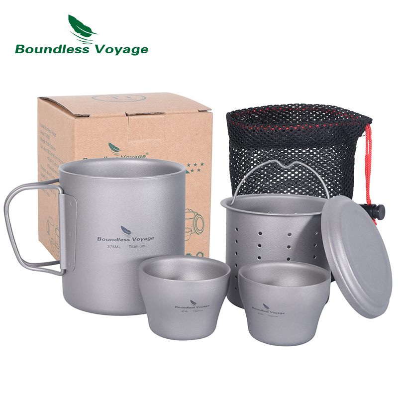 Boundless Voyage Titanium Double-walled Tea Cup with Strainer Shot Glass Outdoor Camping Portable Coffee Mug Set Ti3088D