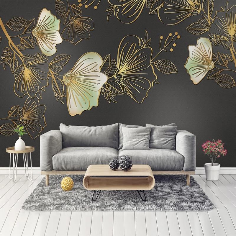 Custom Photo Wallpaper For Walls 3D Golden Embossed Flower Leaf Luxury Living Room TV Background Wall Mural Modern Wall Paper 3D